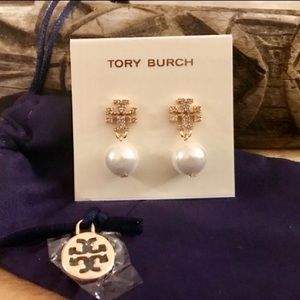 Tory Burch Pave' Crystal Logo Pearl Drop Earrings